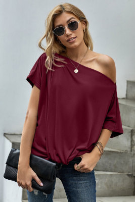 Red Off-The-Shoulder Slash Neck Casual Loose Fitting Top