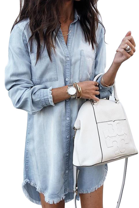 Sky Blue Denim Long Sleeve Shirt Dress