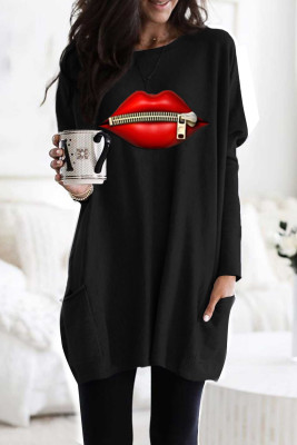 Black Oversize Zipped Red Lips Long Sleeve Top with Pockets