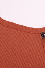 Orange Contrast Eyelet Thermal Knit Top