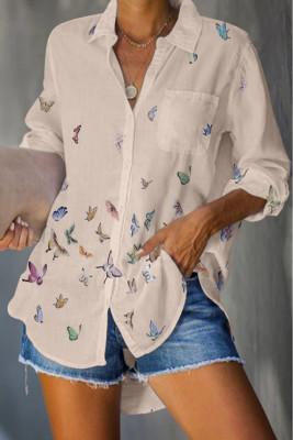 Camicia con taschino stampa farfalle albicocca
