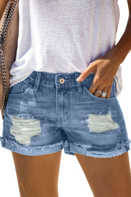 Distressed Ripped Rolled Hem Sky Blue Denim Shorts