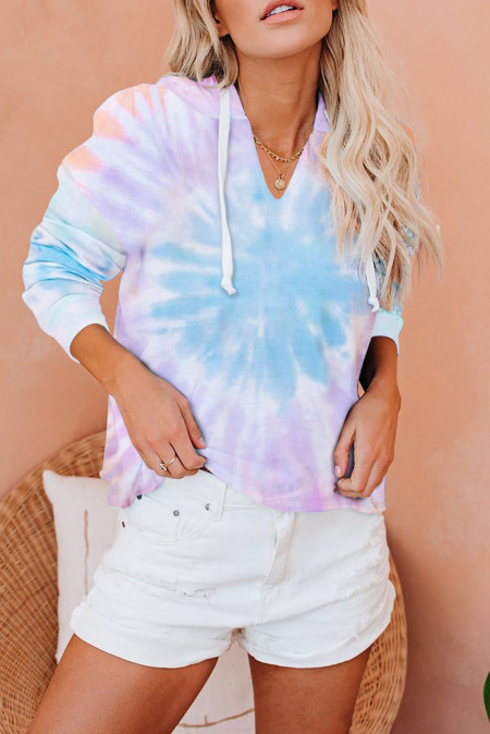Colorblock Der Sun Cotton Blend Tie Dye Hoodie