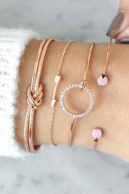 Koreaanse stijl gouden pijl kristallen ring armband