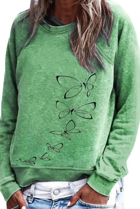 Sweat-shirt vert à imprimé papillon