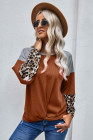 Leopard Long Sleeve Waffle Knit Orange Blouse with Twist Knot