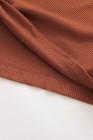 Leopard Langarm Waffel Strick Orange Bluse mit Twist Knot