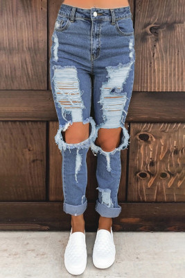 Blue Distressed Mom Jeans