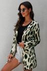 Leichte Strick-Leoparden-Strickjacke