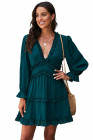 Green V Neck Ruffle Detailing Open Back Dress