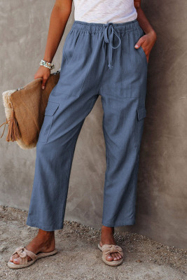 Blue Driven Linen Blend Pocketed Cargo Pants