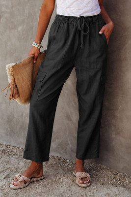 Black Driven Linen Blend Pocketed Cargo Pants