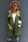 Green Front Pocket and Buttons Closure Cardigan