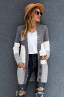 Multicolor Front Pocket and Buttons Closure Cardigan