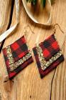 Rode geruite pailletten oorbellen