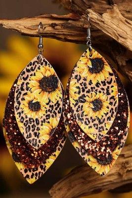 Luipaard zonnebloem gouden lovertjes blad meerlagige leren oorbellen