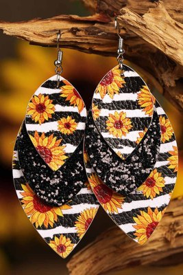 Leopard Sunflower Black Sequined Leaf Multi-Layered Leather Earrings