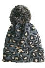 Bonnet à pompon léopard gris
