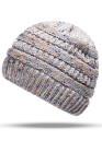 Bonnet de queue de cheval tricoté coloré d'hiver gris