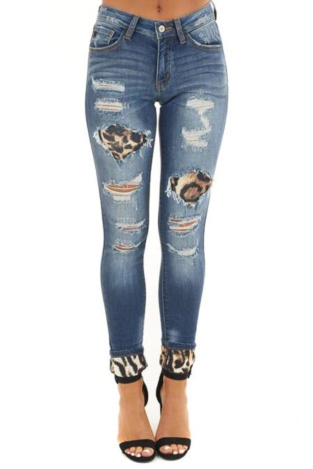 Темно-синие потертые рваные джинсы скинни с вырезанным леопардовым принтом