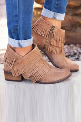 Khaki kotníkové boty s nízkým podpatkem