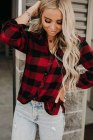 Red Buffalo Plaid Button Pocket Blouse