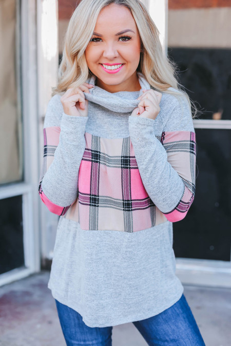 Plaid Splicing Gray Cowl Neck Long Sleeve Top
