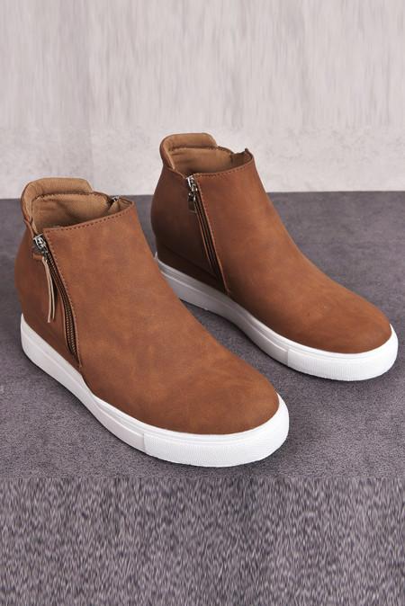 Brown Wedges Platform Vulcanize Schuhe