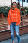 Rollkragenpullover mit orangefarbenem Gittermuster