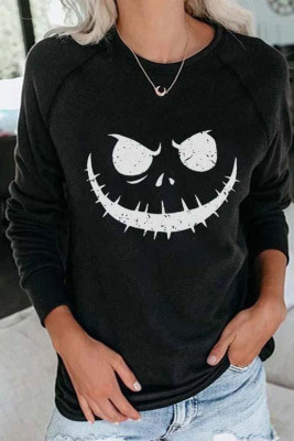 Black Crew Neck Pumpkin Print Halloween Sweatshirt