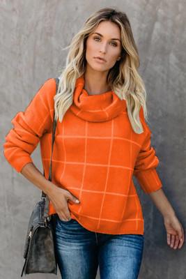 Maglione dolcevita con motivo a griglia arancione