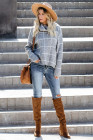 Gray Grid Pattern Turtleneck Sweater