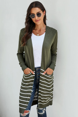 Green Open Front Long Sleeve Striped Cardigan