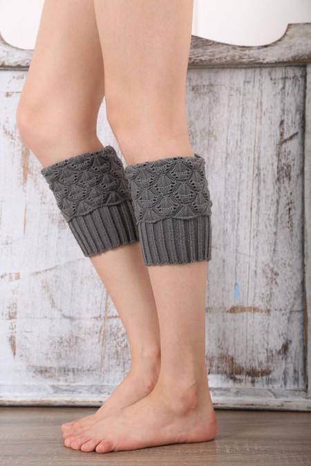 جوارب تدفئة الساق المحبوكة باللون الرمادي