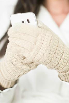 Beżowe dzianinowe rękawiczki zimowe z zamszową naszywką