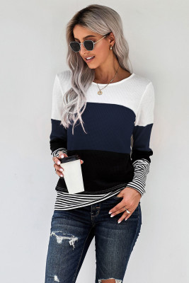 Blue Stylish Colorblock Splicing Stripes Top