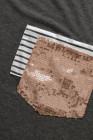 Stripe Pocket Pailletten Spleißen Langarm O-Ausschnitt Top