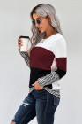 Wine Stylish Colorblock Splicing Stripes Top