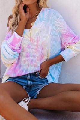 Haut multicolore à manches longues tricoté à encolure en V