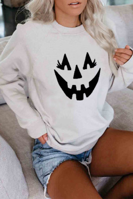 White Crew Neck Pumpkin Print Halloween Sweatshirt