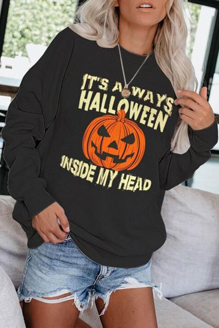Halloween-Sweatshirt mit Rundhalsausschnitt und Kürbis-Print