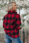 Red Plaid Print Turn-Down Pullover Sherpa Sweatshirt