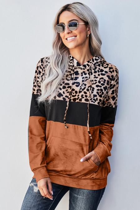 Orange Leopard Tie Dye Colorblock Hoodie