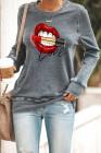 Lips Print Graues Sweatshirt