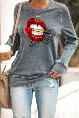 Lips Print Gray Sweatshirt