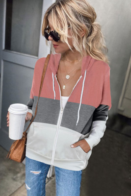 Pink Zip Front Color Block Splicing Drawstring Hoodie