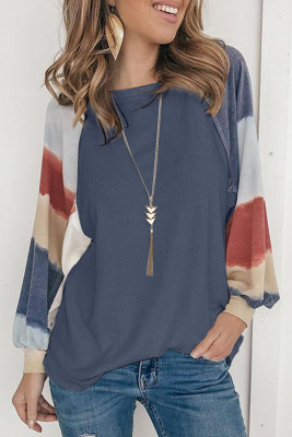 Blue Lantern Sleeve Color Block Pullover Loose T-shirts