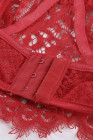 Conjunto de sujetador de encaje con pestañas y tirantes de espagueti rojo