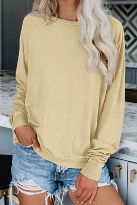 Aprikose French Terry Cotton Blend Pullover Sweatshirt