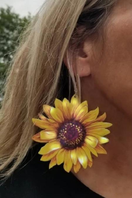 3D zonnebloem oorbellen